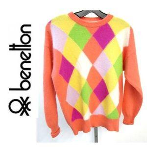 United Colors of Benetton Harlequin Sweater Sz LG